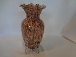 Victorian Art Glass Spatter Ware Vase Cased Glass With Brown Pink Decoration