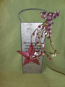 Burgundy Star Antique Slaw Cutter For Country Kitchen Pip Berries Grungy Bow