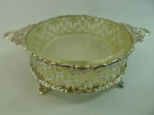 Antique English Sterling Silver Glass Bowl Dish