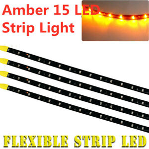 4x Amber Yellow 30cm 15 Led Car Motor Truck Flexible Strip Light Waterproof 12v