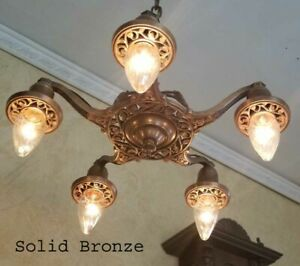584b Antique Ceiling Light Lamp Fixture Solid Bronze Chandelier Gothic Tudor