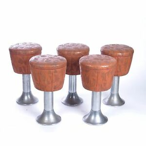 Mid Century Modern Bar Stools Vtg Duro Chrome Vinyl Counter Retro Mcm Set 5