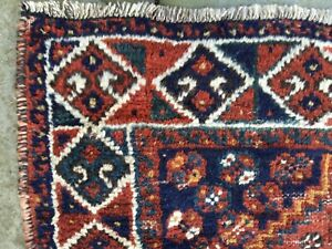Antique Tribal Rug Worn All Wool Vegetable Dyes With Birds 3 6 X 4 7