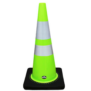 28 Rk Lime Safety Traffic Pvc Cones With Two Reflective Tape cone28l2t