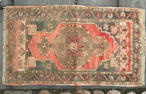 Vintage Turkish Rug Small Pink And Green With Abrash Nice Weave 38 X 22