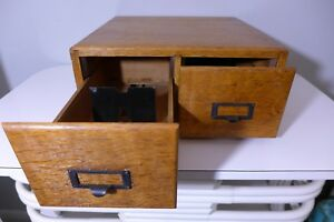 Antique Oak Wood Library Card Catalog 2 Drawer File Box Index Card Vintage Offic