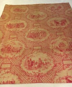Vintage C 1900 French Linen Toile Fabric 36 X 31 B
