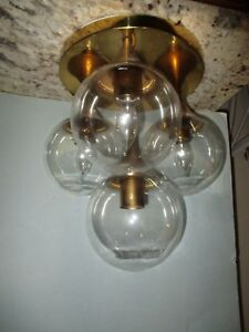 Vintage Sputnik Flush Mount Ceiling Light Atomic Era Mid Century Modern Brass