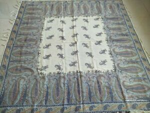 Antique French Paisley Kashmir Print Piano Shawl Square Size 64 By63 Multicolor