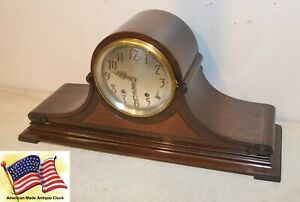 Restored Seth Thomas Tambour 21 1928 Antique Mahagony Time Strike Clock