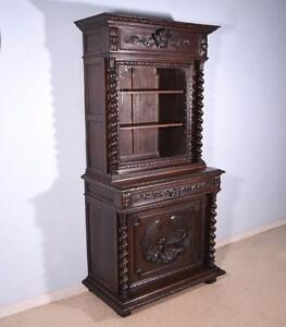 French Antique Renaissance Revival Hunting Cabinet Deux Corps Bookcase Buffet