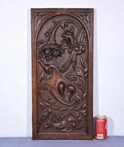 French Antique Carved Panel In Walnut Wood With Griffins And Cornucopia Salvage