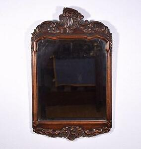 Antique French Louis Xv Rococo Mirror With Beveled Glass In Walnut Frame