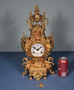 19 Large Vintage French Empire Bronze Clock With Hermle Fhs Clockworks