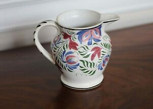 Antique Leeds Pearlware Polychrome Decorated Pitcher Circa 1820