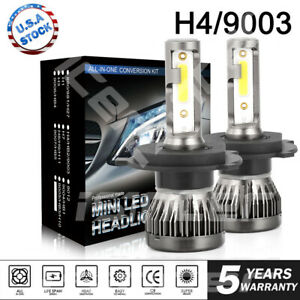 H4 9003 Led Headlight Bulbs Kit High Low Beam Upgrade 55w 8000lm 8000k Ice Blue
