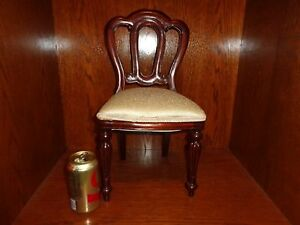 Vintage Mahogany Frame Miniature Side Chair W Ivory Damask Upholstery Doll