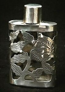 Flask Perfume Bottle Sterling Silver Clear Glass Cm Taxco Mexico 2 75