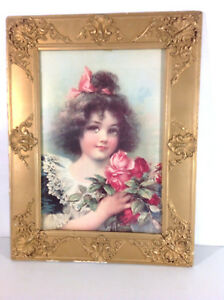 Vntg Victorian Girl Stone Lithograph Print 1880 1910 In Decorative Antique Frame