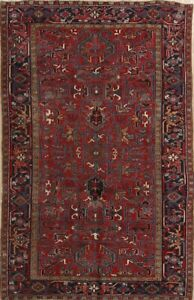 Geometric Old Antique 6x9 Wool Oriental Area Rug Red 9 5 X 6 2