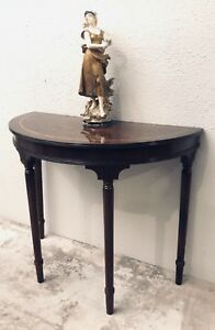 Antique English Mahogany Demilune Console Table Entry Table C Early 20th Cent