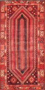 Hand Knotted Collectible Geometric Red Wool Lori Oriental Area Rug 5x9