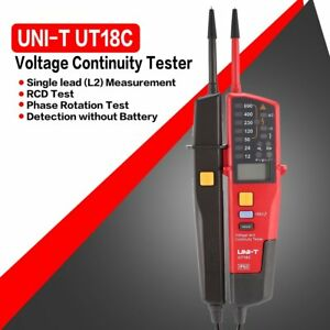 Uni t Ut18c Voltage Continuity Electrical Lcd Led Two Pole Tester Detector Nv