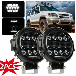 Pair 7inch Black Round Led Light Combo Work Off Road Fog Driving Roof Bar Bumper
