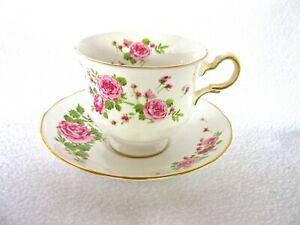 Pink Roses Beautiful English Bone China Tea Cup Saucer Made Exclusivey For Avon