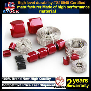 4pcs Red Braided Hose Sleeving Kit Radiator Vacuum Heater Fuel Line Hose