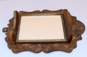 1800 S Vintage Antique Wooden Hand Crafted Framed Dressing Mirror Collectible