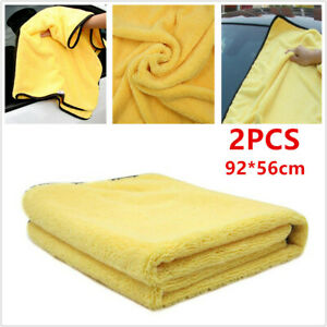 2pcs Car Truck Wash Cleaning Drying Cloth Rinse Absorbent Soft Microfiber Towel