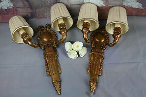 Pair French Brass Regency Bow Sconces Double Arm 1930 S Wall Lights