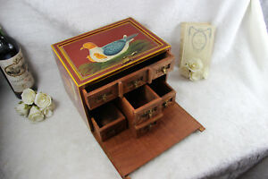 Rare French Handmade Paint Birds Wood Carved Jewelry Box Drawers Inside 1970