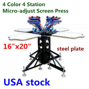 Us 4 Color 4 Station Micro adjust Silk Screen Printing Machine T shirt Printer