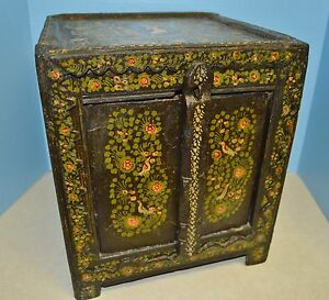 Primitive Hand Carved Painted 17 18th C Persian Mediterranean Dowry Alms Box