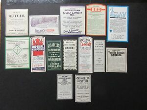 14 Old Pharmacy Drugstore Apothecary Medicine Bottle Old Label Lot Vintage
