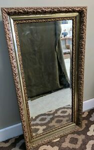 Antique Victorian Gold Gilt Wood Gesso Wall Mirror Floral Hollywood Regency