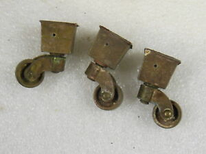 Antique Brass Furniture Casters Lot Of 3 With Square Cup Base Old