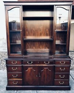 Vtg Lane Glass Front Mahogany Bookcase Bookshelf Library Credenza Office H78 1 2