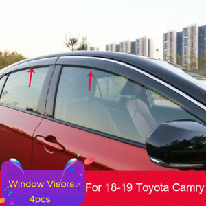 For 18 19 Toyota Camry Chrome Trim Smoke Tinted Window Visors