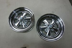 Nos Vintage 1969 Cragar Ss 15x6 Chrome Wheels Mint Condition With Caps Ford 4 5