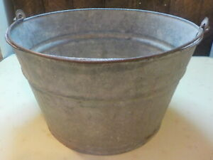 Vintage Galvanized Metal Round Farm Tub Pail Bail Handle Planter Marked A