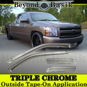 2007 2013 Chevy Silverado 4d Extended Cab 4pc Chrome Door Vent Visor Rain Guards
