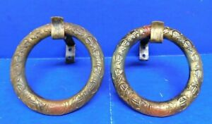 2 Antique Vtg Victorian Curtain Rod Bracket Tie Back Polychrome Paint Iron Rings
