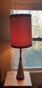 Vintage Mid Century Danish Modern Wood Ceramic Art Lamp Tall Shade
