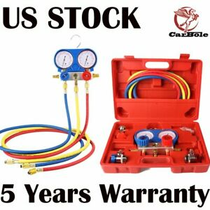 Ac Refrigeration Kit A C Manifold Gauge Set Air R134a R12 R22 R502 W 5ft Hose