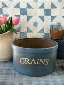 Lg Antique Wood Dry Measure Pantry Box Blue Milk Paint Grains Stencil