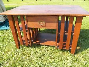 Antique Mission Oak Library Table Partner Desk With Bookshelves And Drawer