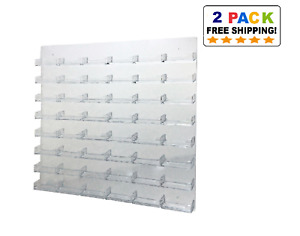 48 Pocket Clear Acrylic Wall Mount Business Card Holder Lot Of 2